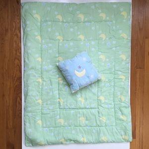 Baby Blanket & Pillow, Stars & Moons, Green